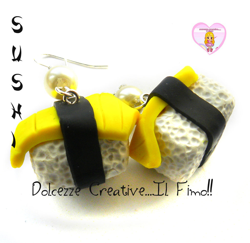 Orecchini Sushi - miniature kawaii - Tamago - omelette cute idea regalo