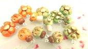 FIMO - UNA COPPIA di CIONDOLI A SCELTA CHARMS ESTATE - colori PASTELLO antichizzati VERDE o ARANCIO   - bomboniera idea regalo