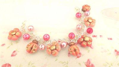 FIMO -BRACCIALE   ESTATE - colori PASTELLO antichizzati multicharms - ROSA con perle
