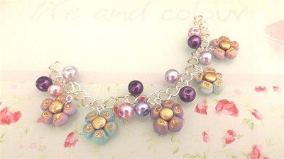 FIMO -BRACCIALE   ESTATE - colori PASTELLO antichizzati multicharms - LILLA e TURCHESE  con perle