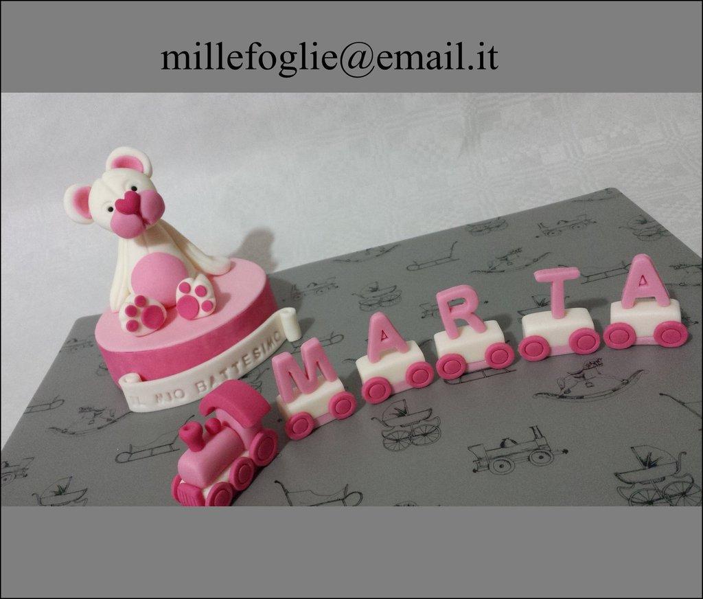 Cake Topper Orsetto e Trenino con nome in pasta di zucchero.