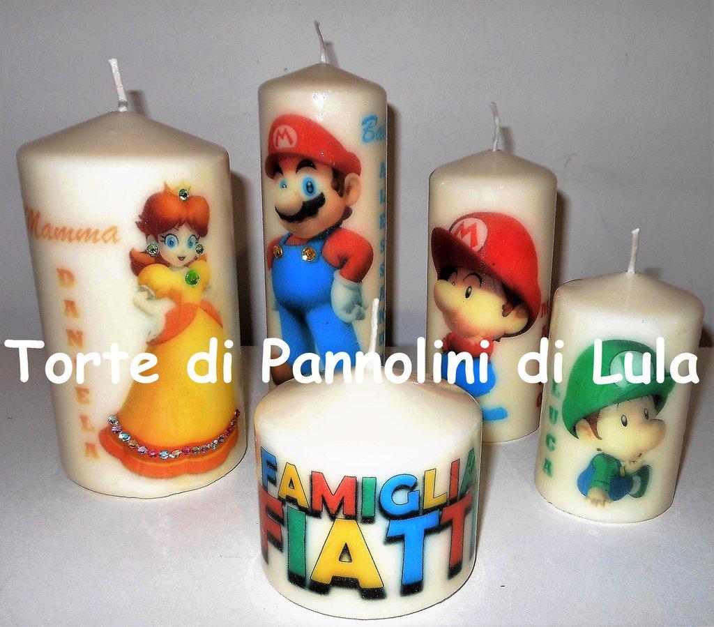 Set 5 candele decorative personalizzate famiglia super Mario con nomi  immagini e personaggi a scelta