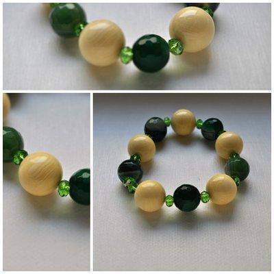 Bracciale in radice di osso e agata verde handmade