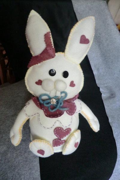 Coniglietto ferma-porta panna