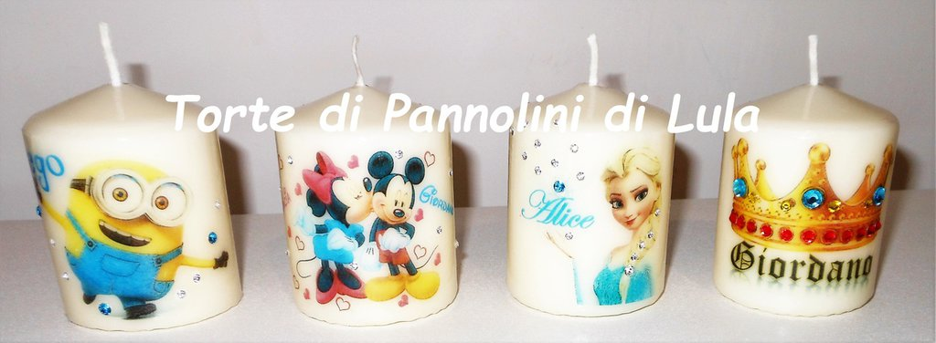 Set 4 candele laccate nomi disegni foto personalizzate idea regalo originale strass