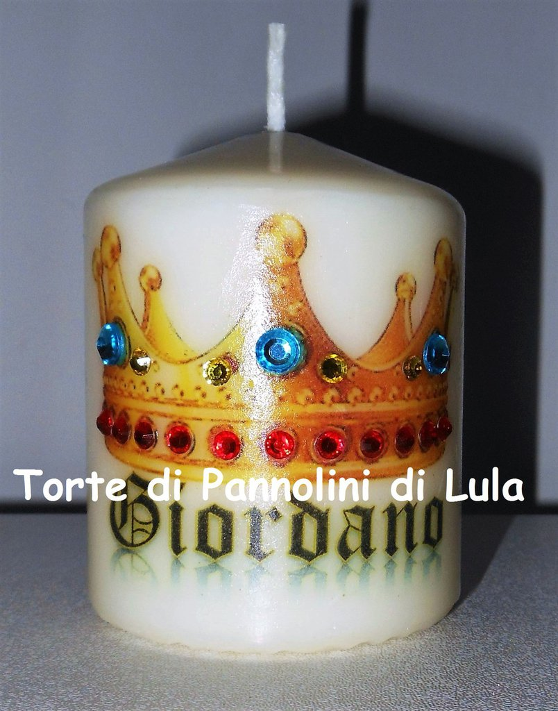 candela laccata nome disegno foto personalizzati idea regalo originale strass
