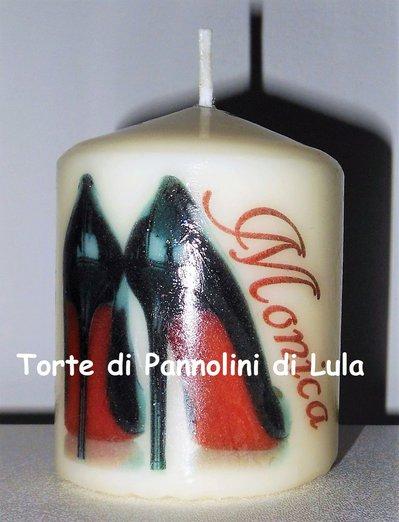 candela laccata nome disegno foto personalizzati idea regalo originale glitter