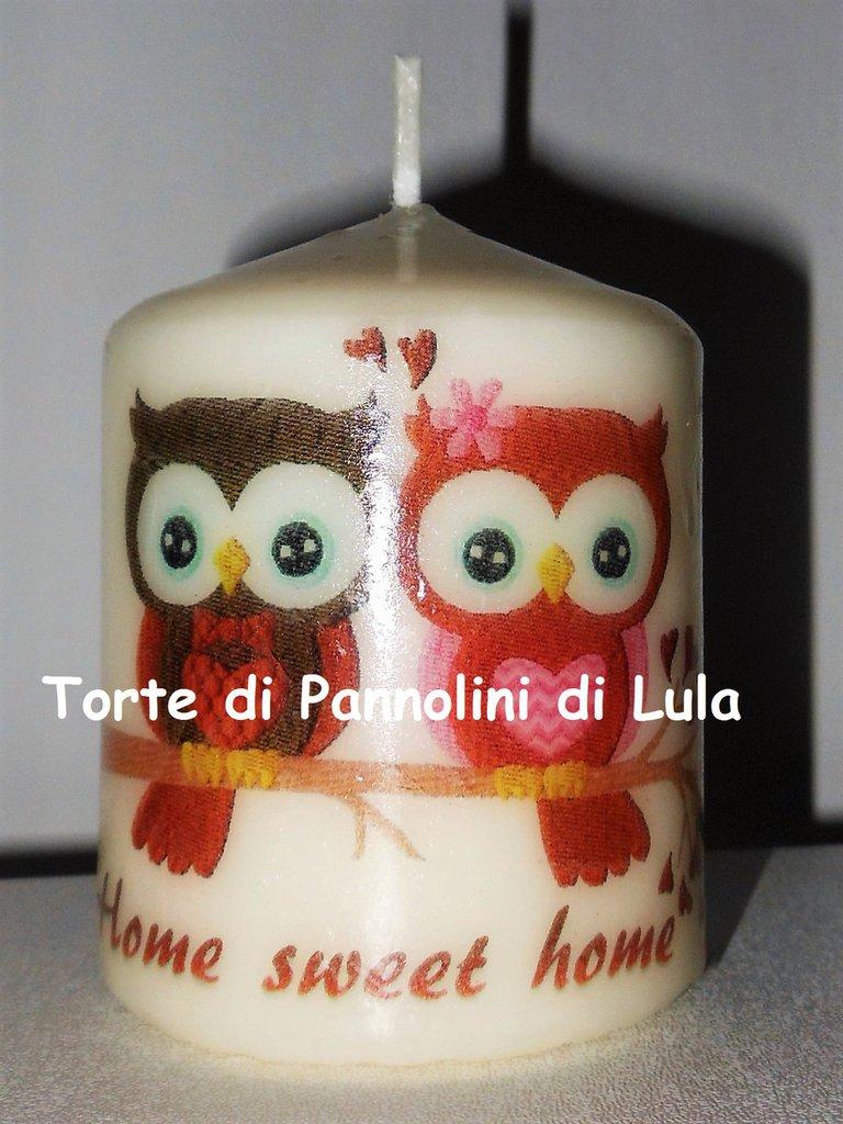 candela laccata nome disegno foto personalizzati idea regalo gufi casa home