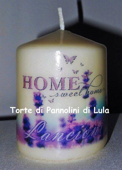 candela laccata nome disegno foto personalizzati idea regalo lavanda casa home
