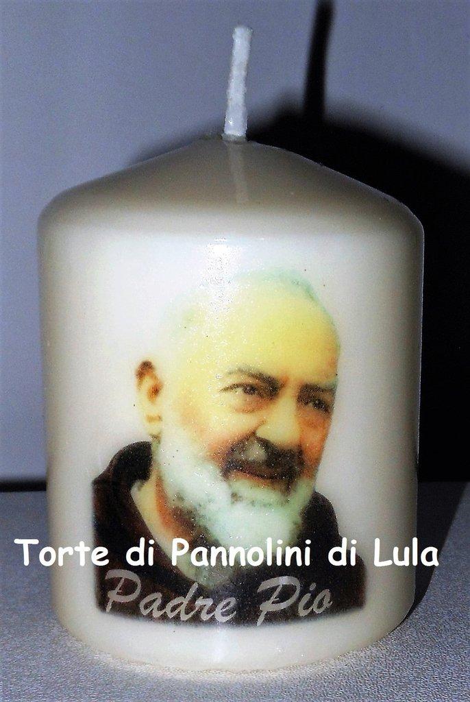 candela laccata nome disegno foto personalizzati idea regalo originale Padre Pio
