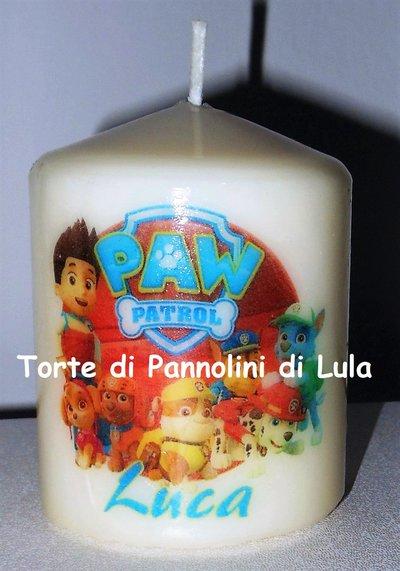 candela laccata nome disegno personalizzati idea regalo originale Paw Patrol