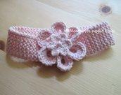 Fascetta rosa con fiore in puro cotone biologico - accessori neonata - fatta a mano