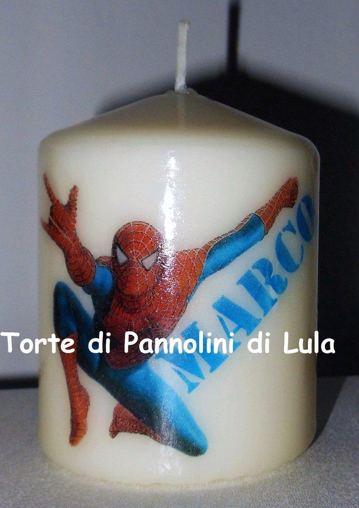 candela laccata nome disegno personalizzati idea regalo originale Spiderman