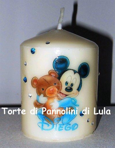 candela laccata nome disegno personalizzati idea regalo originale Topolino