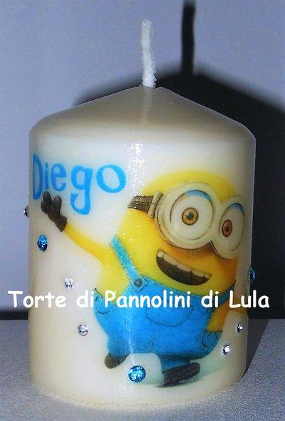 candela laccata nome disegno personalizzati idea regalo originale Minion