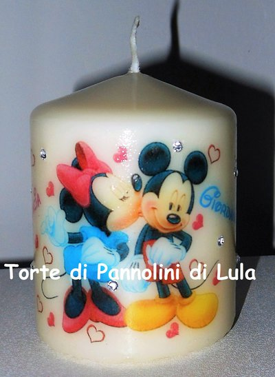 candela laccata nomi disegno personalizzati idea regalo topolino innamorati love