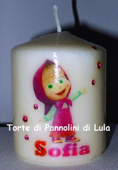 candela laccata nome disegno personalizzati idea regalo originale Masha bambina