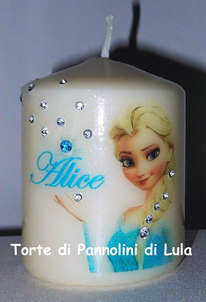 candela laccata nome disegno personalizzati idea regalo originale Elsa bambina