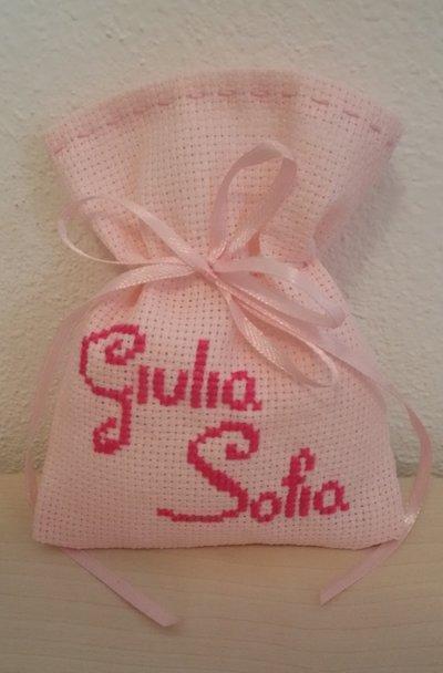 Inserzione riservata n. 25 sacchetti per confetti ricamati a punto croce tela aida rosa