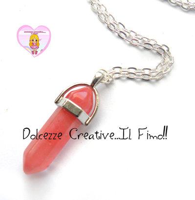 Collana lunga con Pendente in pietra Naturale - base color argento - Quarzo rosso