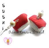 Orecchini Sushi - Maguro - Tonno -miniature fimo kawaii idea regalo handmade