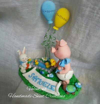 cake topper baby maialino -riservata
