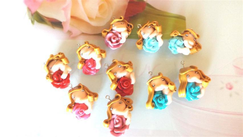 FIMO - CIONDOLO - GLI SPIRITI DELLE ROSE - fatine idea regalo bomboniera compleanno