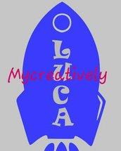 Sticker razzo azzurro con nome per camera bambino