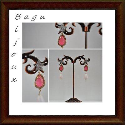 Orecchini handmade in ottone, monachella a stella, occhi di gatto e goccia in quarzo rosa