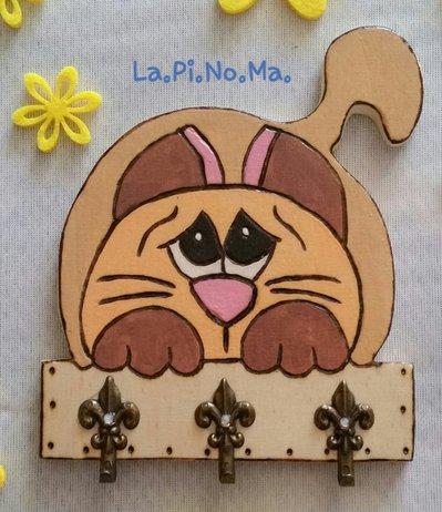 Gatto legno appendi chiavi!