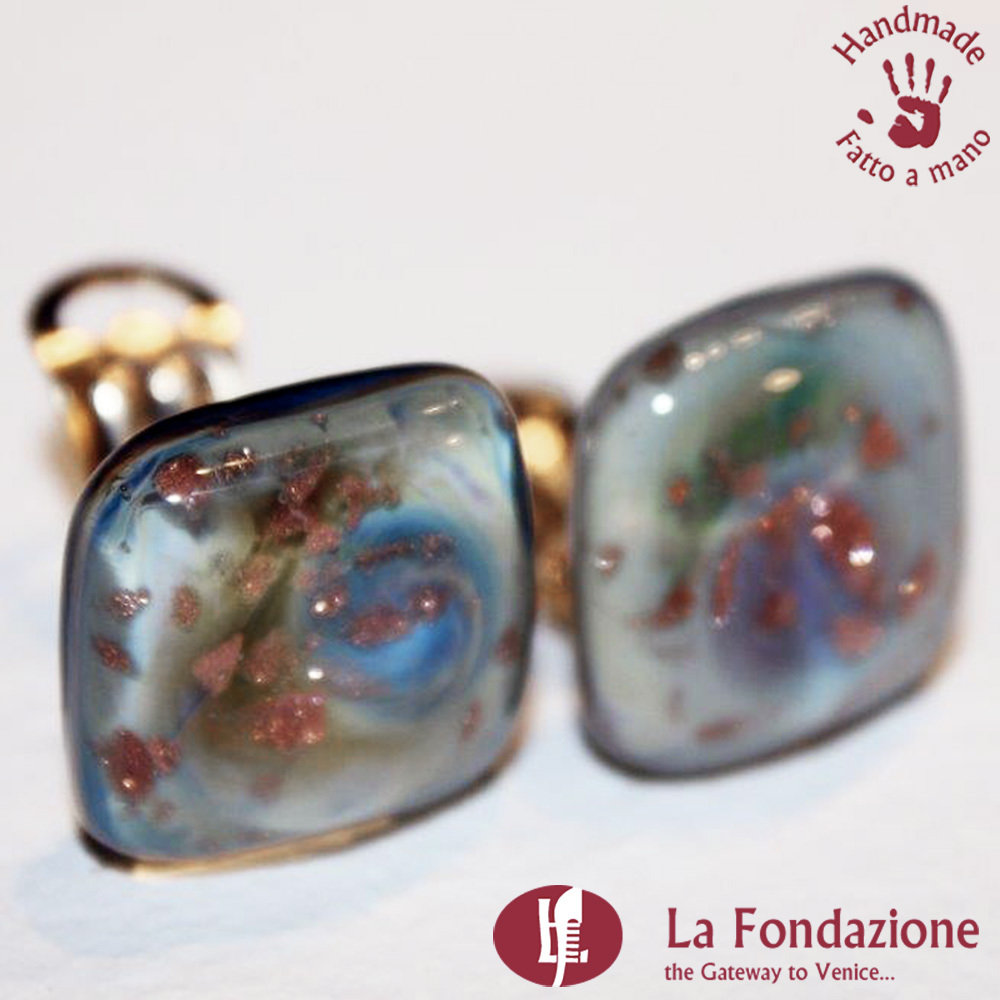 Orecchini Gemma calcedonio clip in vetro di Murano Fatto a mano
