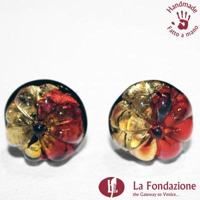 Orecchini Gemma Fiore Rosso clip in vetro di Murano Fatto a mano