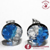 Orecchini Gemma Fiore Blu clip in vetro di Murano Fatto a mano