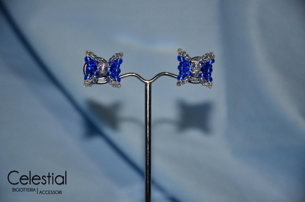 Orecchini perno Fiocco - Blu