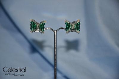 Orecchini perno Fiocco - Emerald
