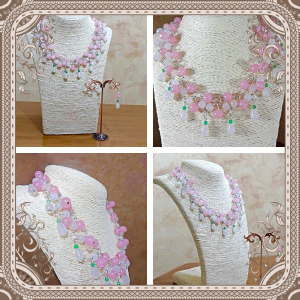 Set collana e orecchini in agata rosa e nefrite verde