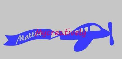 Sticker aereo azzurro con nome per camera bambino