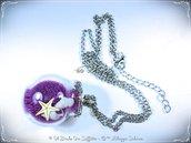 Collana in argentone con Ampolla in Vetro, mini stella marina e mini conchiglie