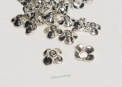Copriperla coppetta fiore colore argento 20 PZ