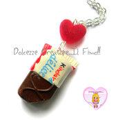 Collana - Merendina kawaii miniature fimo cernit HANDMADE snack cioccolato latte