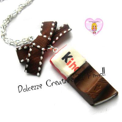 Collana - Barretta cioccolato al latte - miniature kawaii cute idea regalo HANDMADE