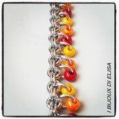 Bracciale chainmail rosso, arancio e giallo