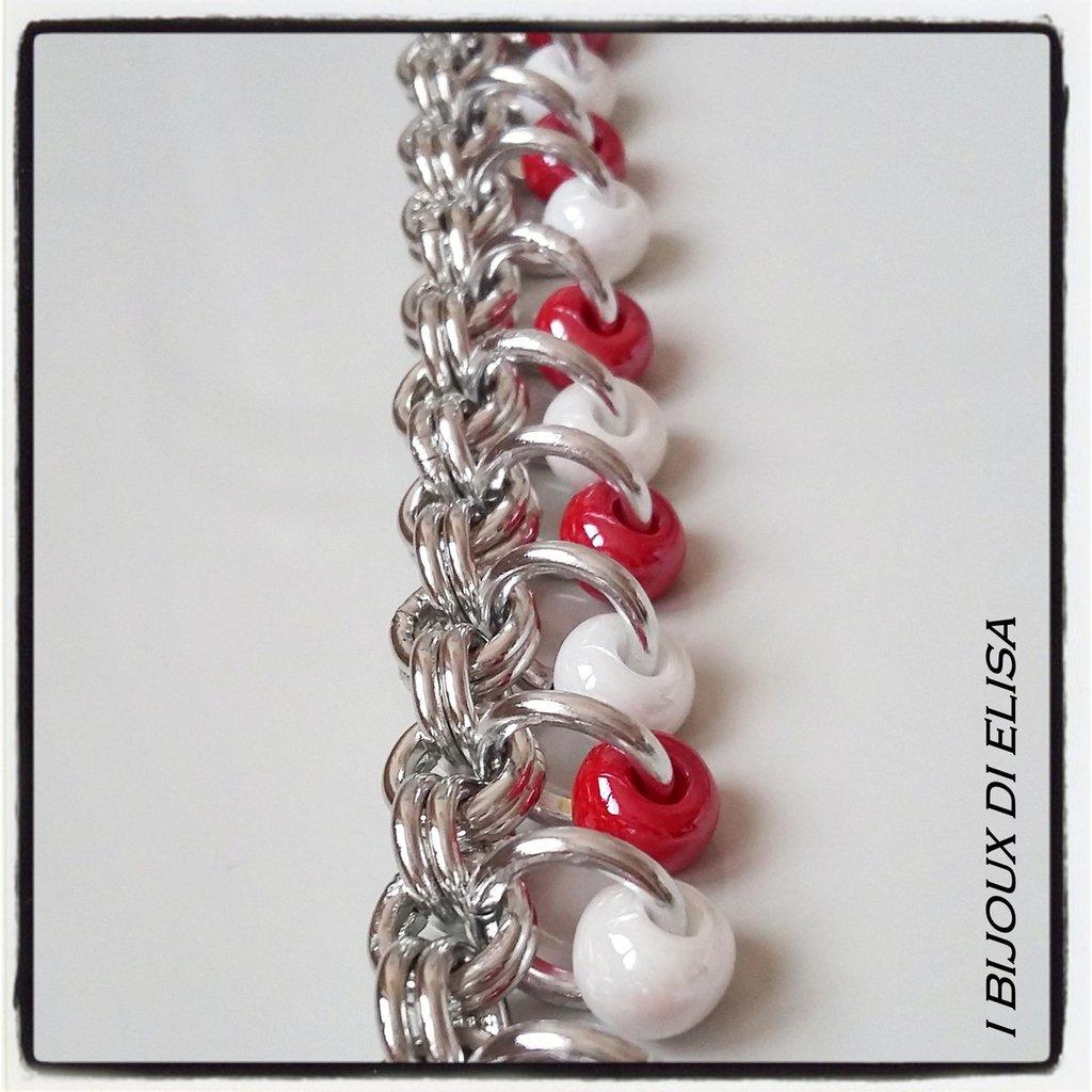 Bracciale chainmail rosso e bianco