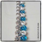 Bracciale chainmail bianco e azzurro trasparente