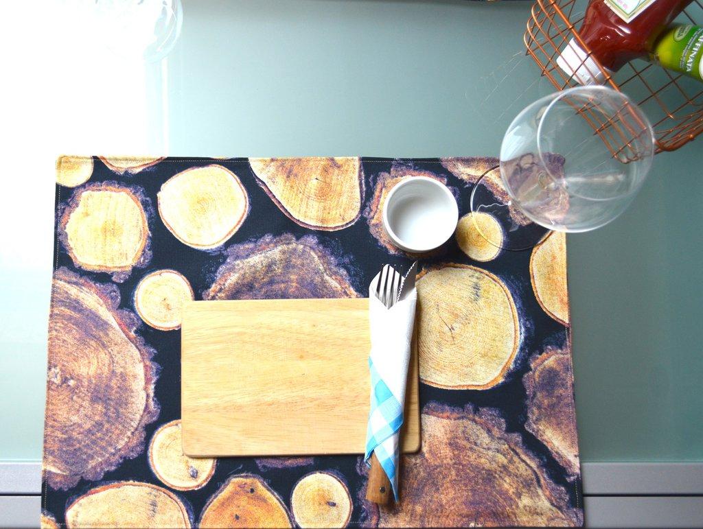 Tovagliette in cotone fantasia tronchi di legno