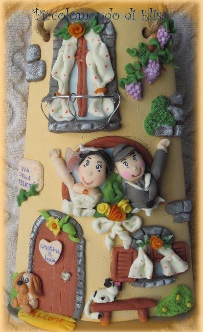 Tegolina per sposi decorata a mano in pasta di mais