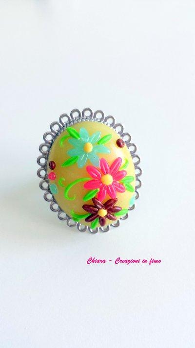 Anello in fimo handmade con fiori in rilievo estivo