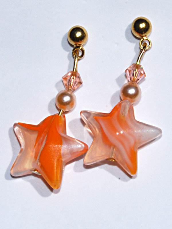 Orecchini White Orange Stelline LampWork