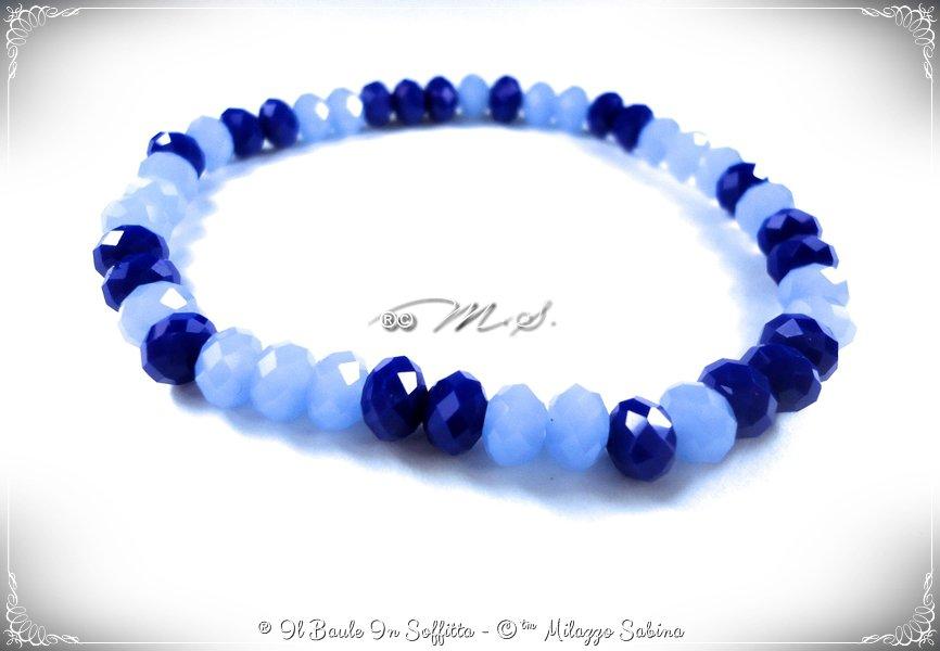 Bracciale Elastico con Cristalli Blu/Azzurro