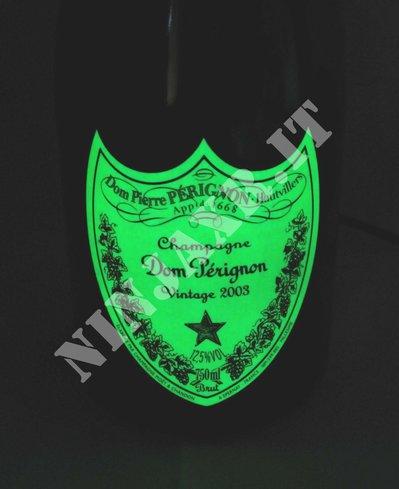 Abat Jour Lampada da tavolo Bottiglia Dom Perignon luminous 2003 idea regalo arredo riciclo creativo riuso